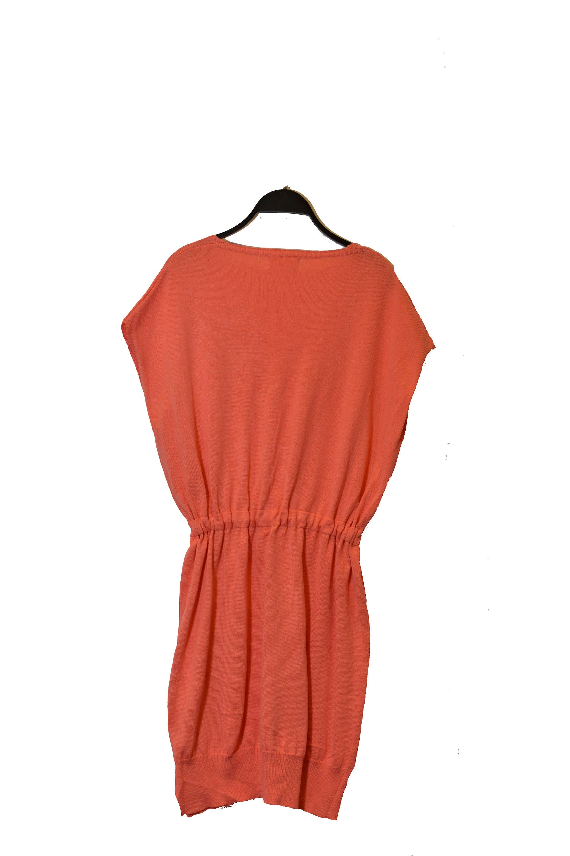 Sleeveless Coral V-Neck Dress With Drawstring At Waistline