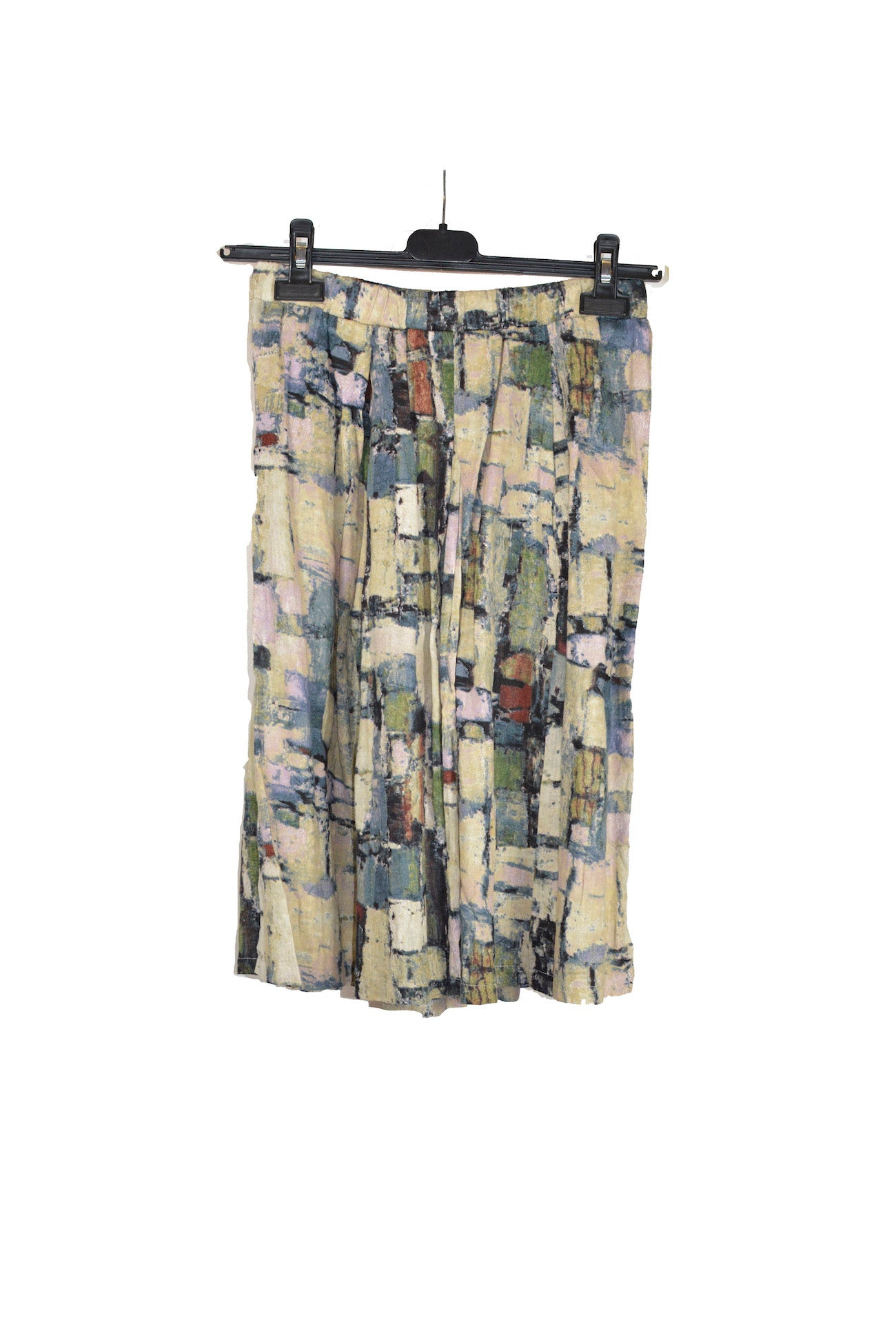 Mid-Length Abstract Printed Skirt With Elastic Waistband