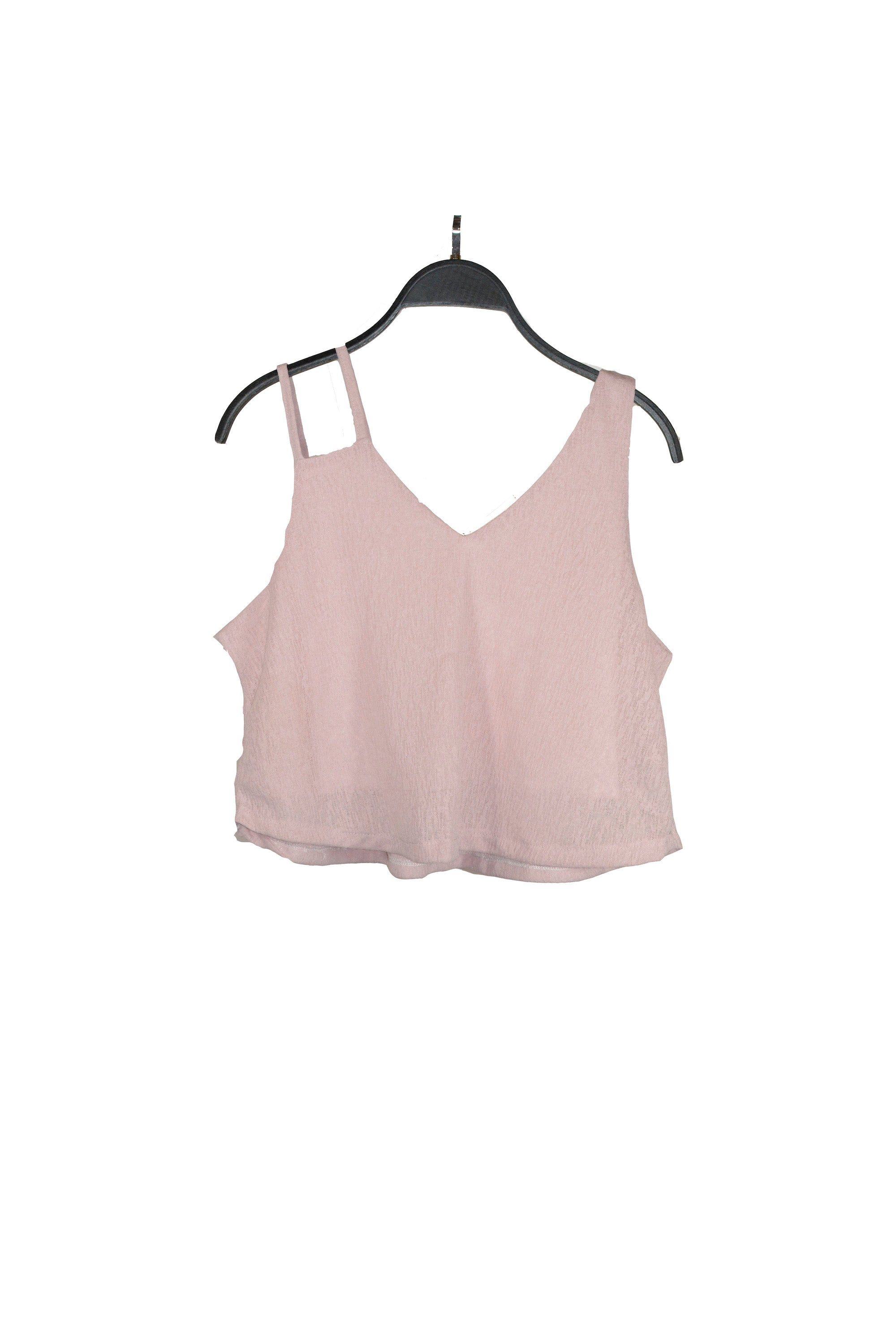 Pink Mesh V-neck Cutout Tank Top