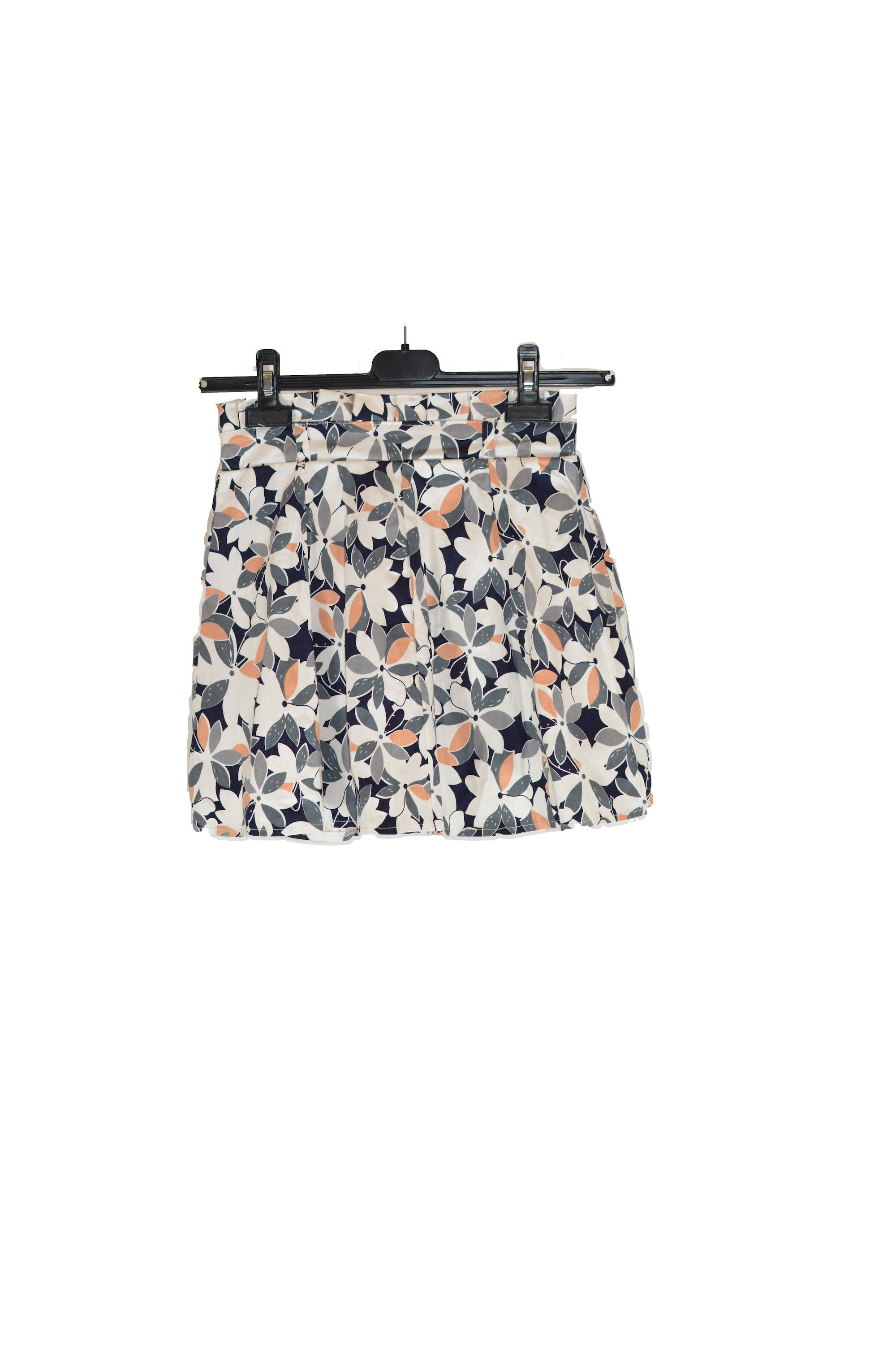 Grey and Pink Pleated Floral Skirt With Elastic Waistband