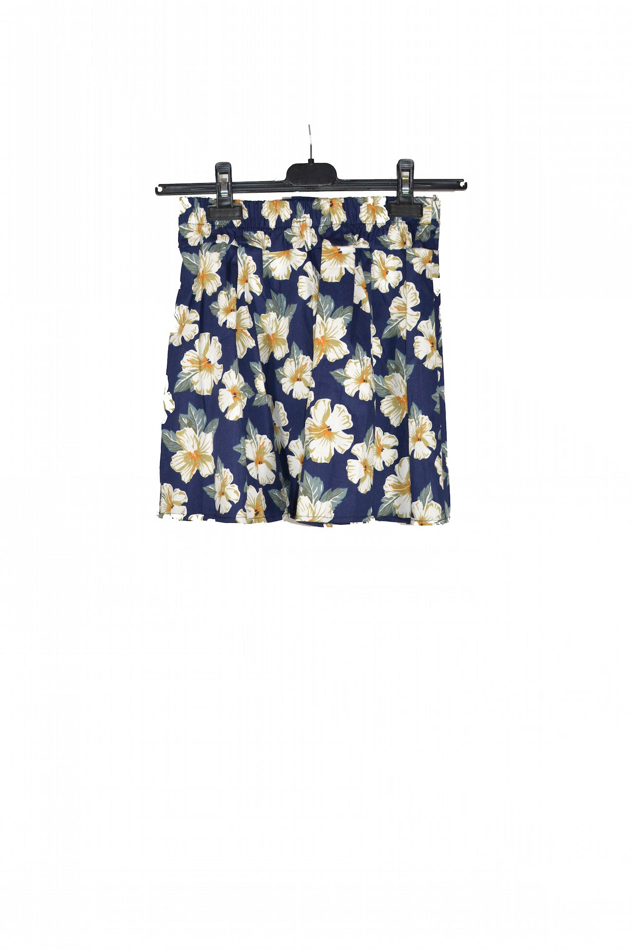 Blue Floral Short Skirt With Elastic waistband