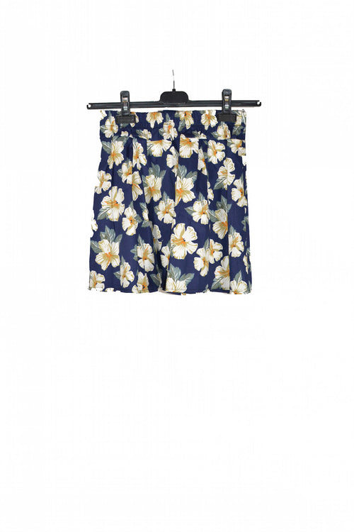 Blue Floral Short Skirt With Elastic waistband !