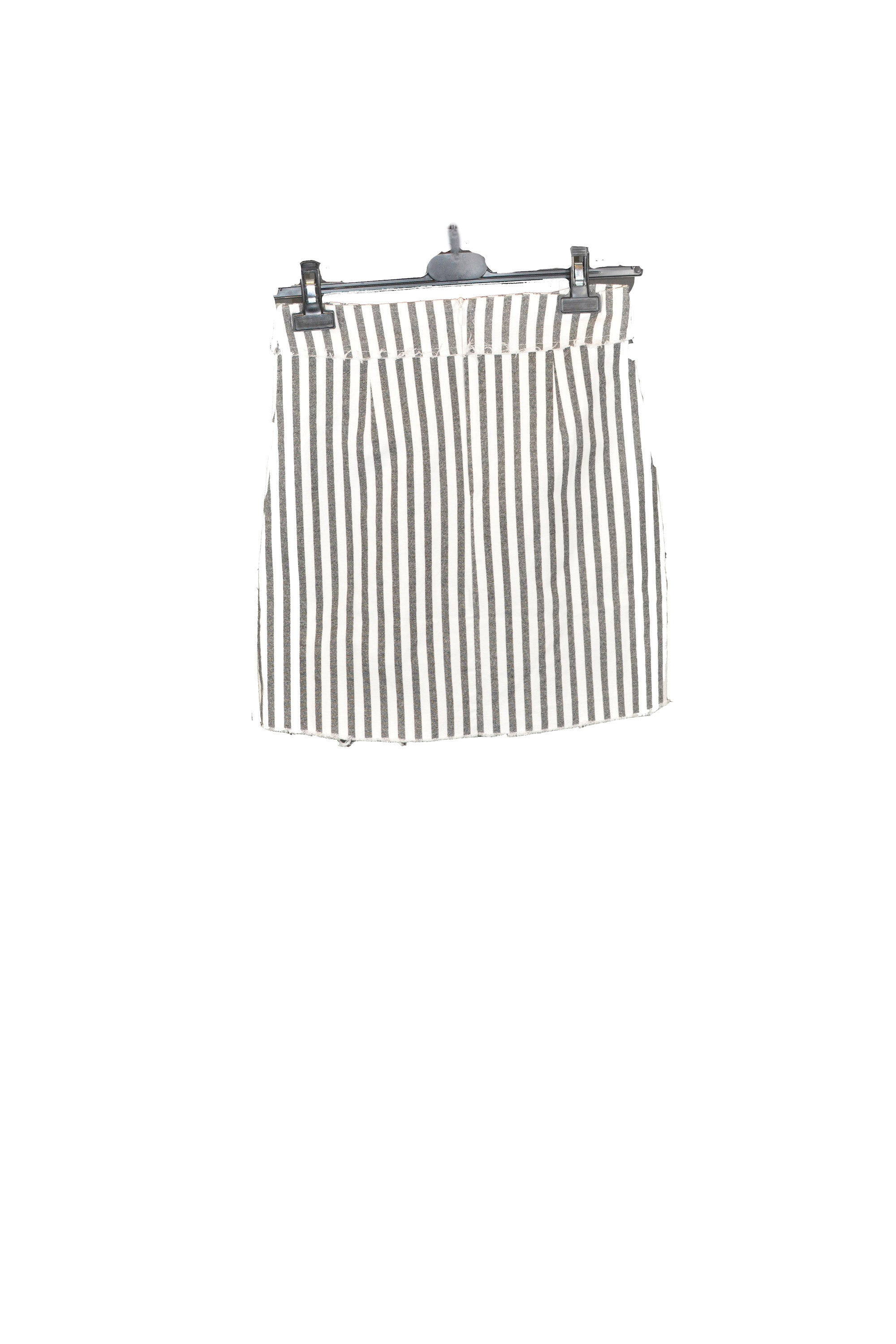 Grey And White Stripe Mini Skirt With 2 front Pockets
