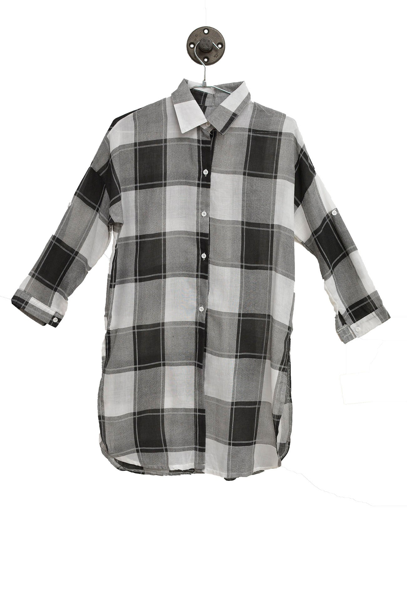 Black And Grey Checkered Buttoned Up Shirt
