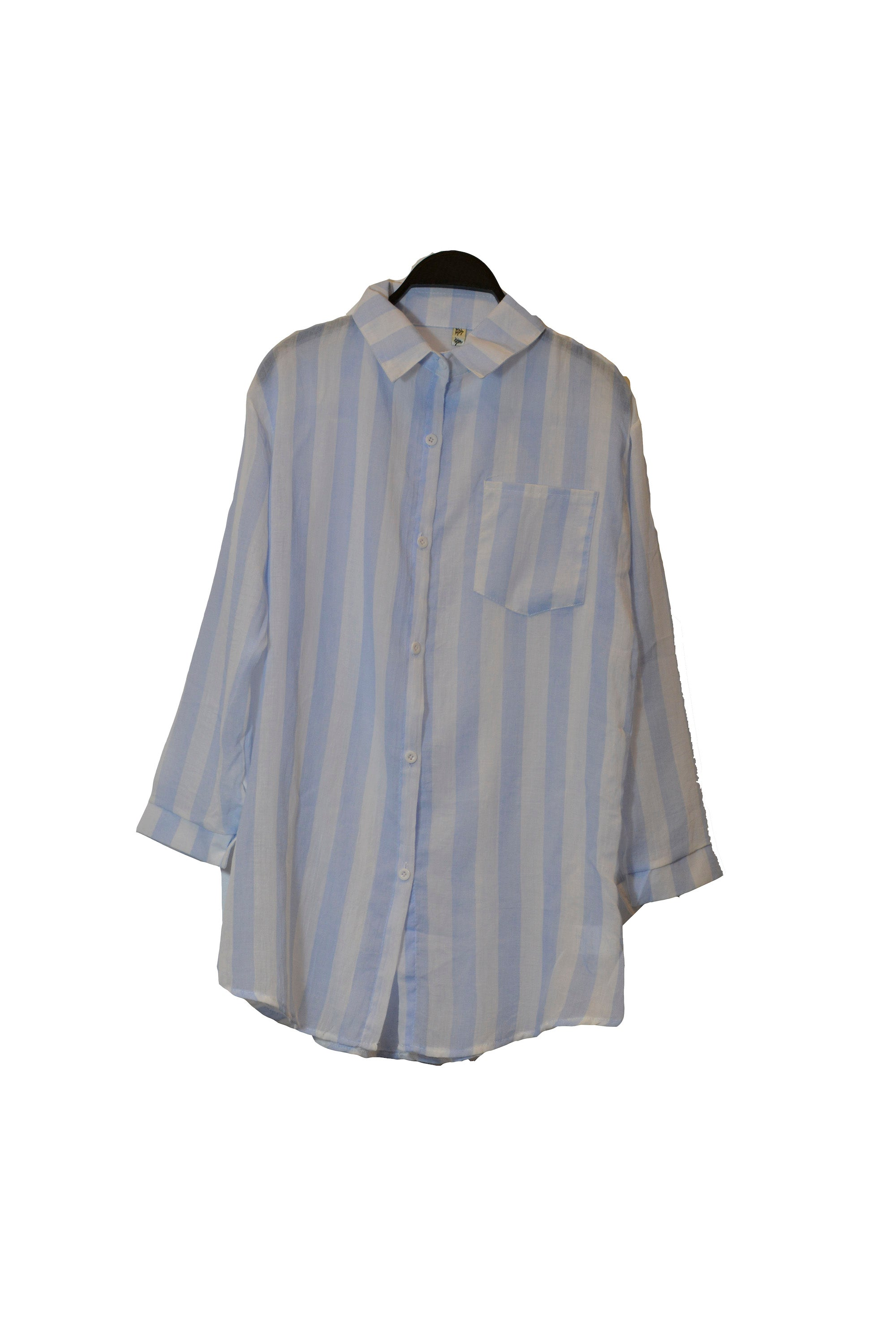 Blue Wide Vertical Stripe Shirt Button Down With Front Pockets
