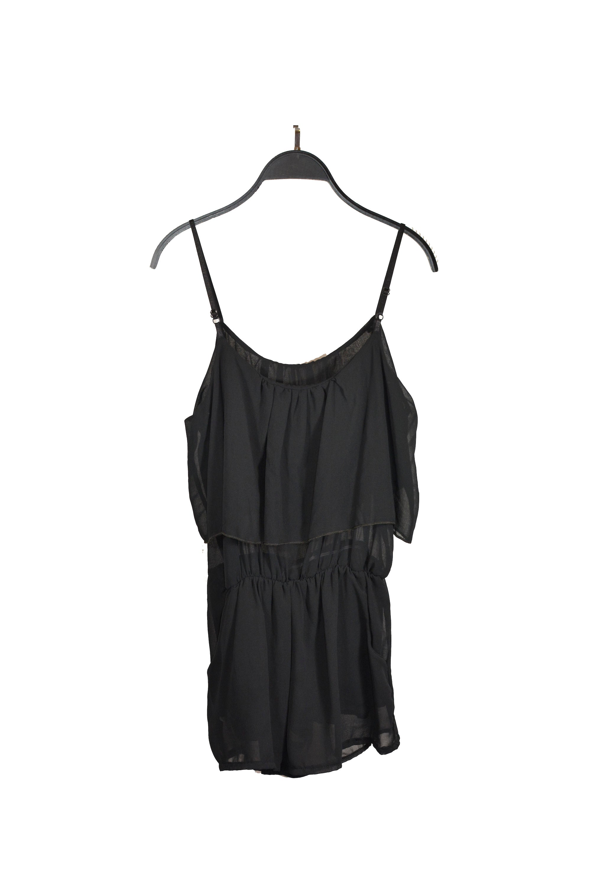 Black Romper With Spaghetti Straps - Ideal For Summer