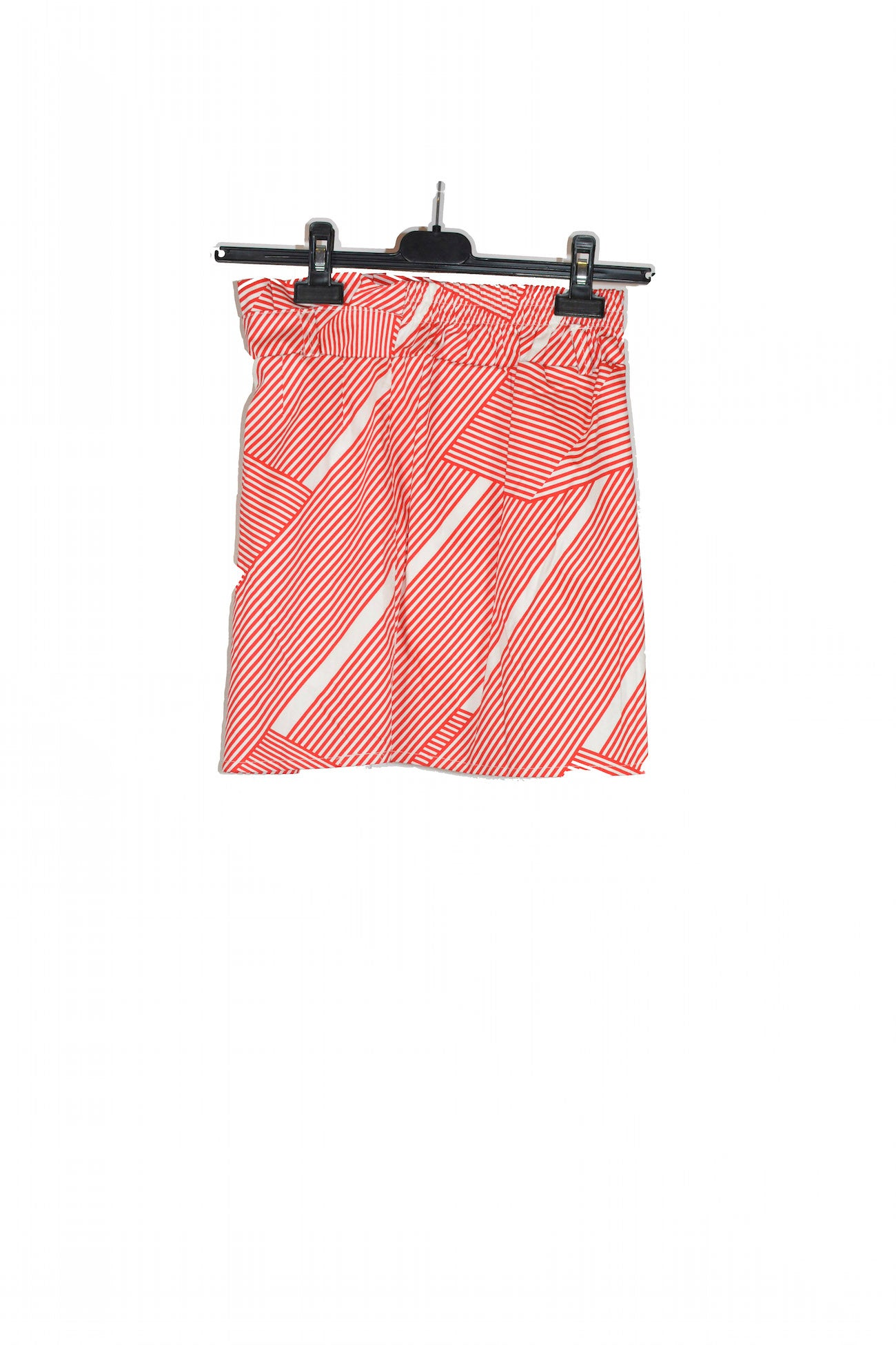 Red Diagonal Striped Mini Skirt That Is Stretchy for Summer