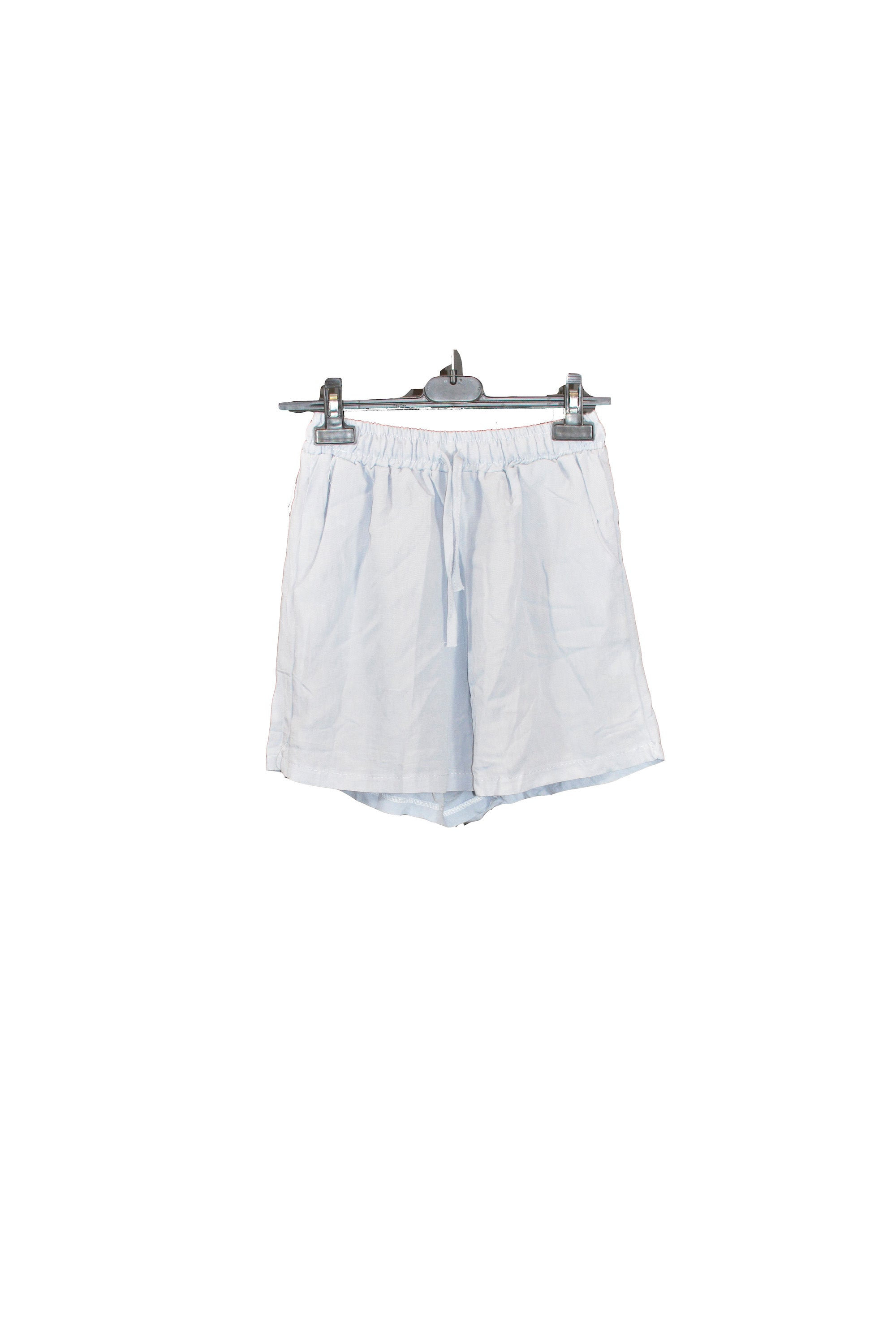 Blue Belted Shorts With Adjustable Waist Ribbon