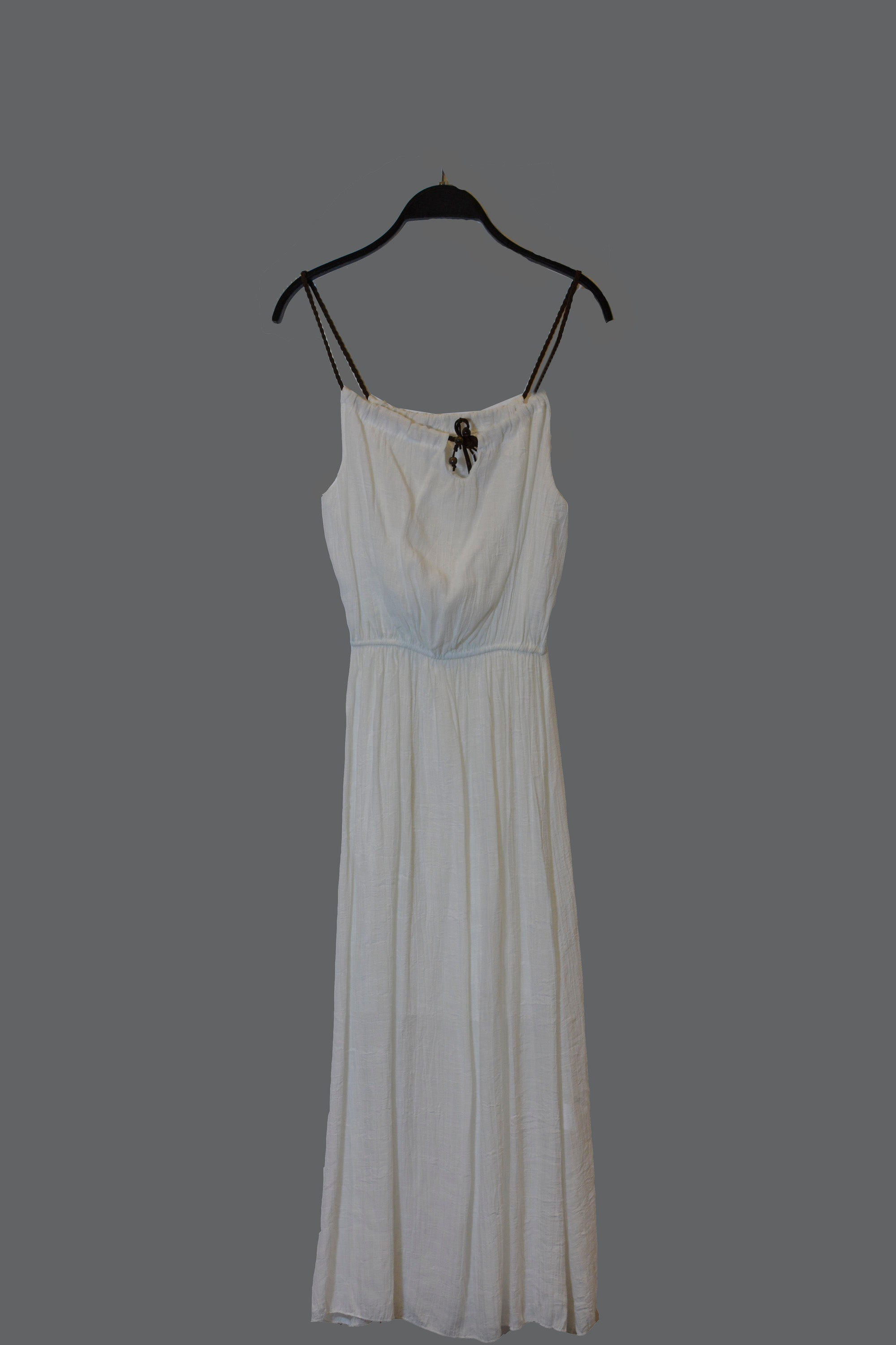 White Braided Maxi Dress With Spaghetti Straps and adjustable brown tie at neckline