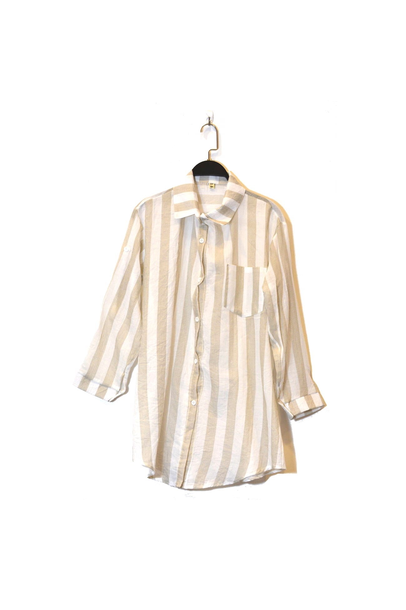Wide Stripe Button Down Shirt  With Front Pocket