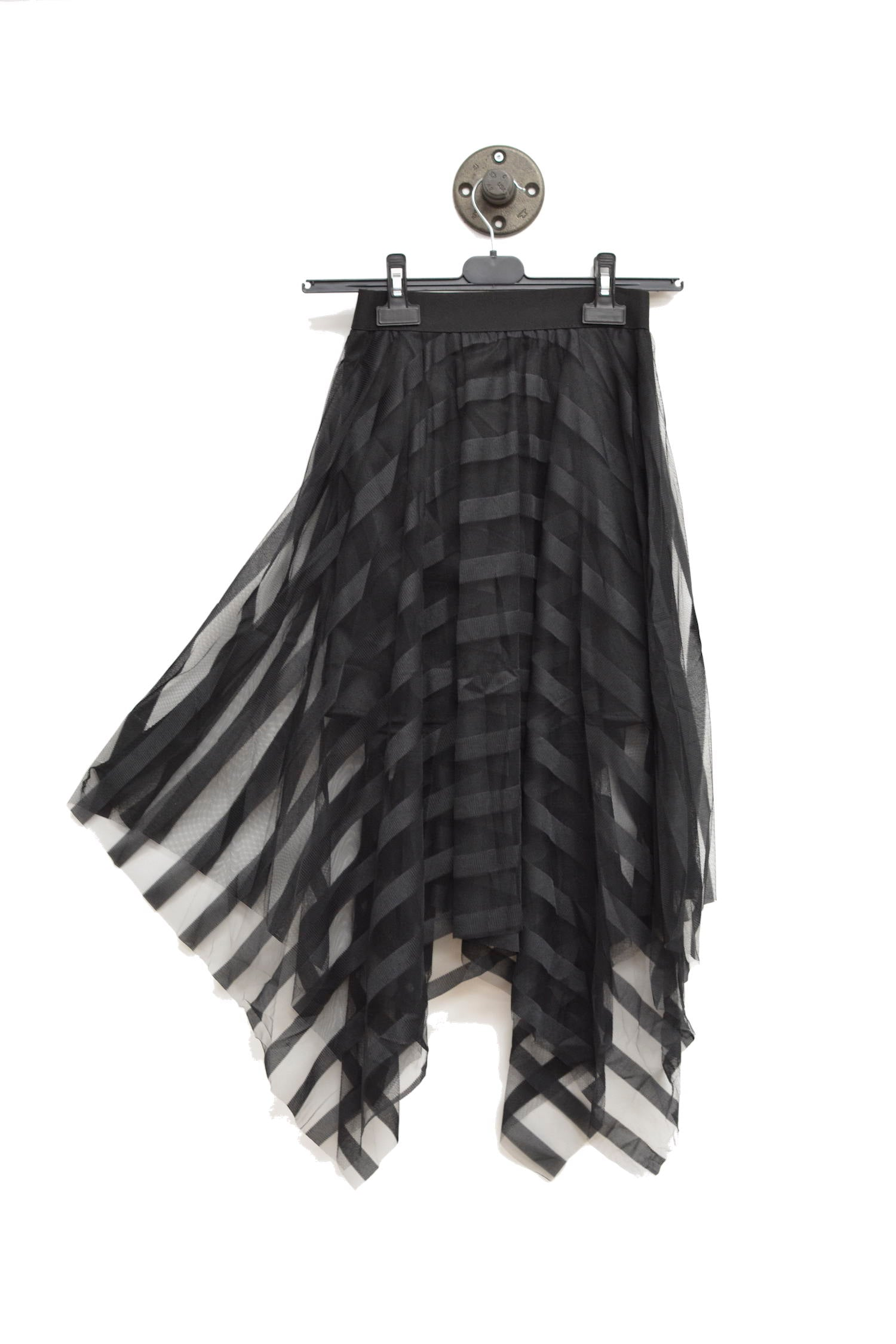 Black Semi-Sheer Skirt With Elastic Waistband