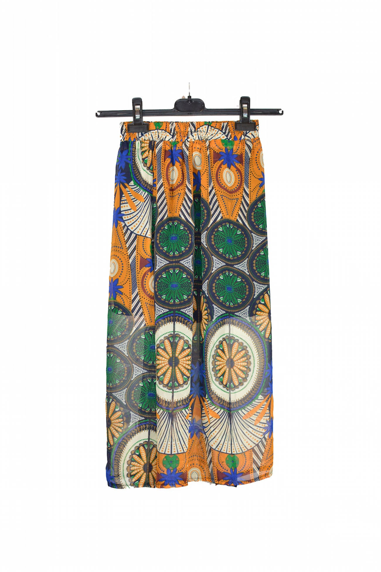 Patterned Slit Geometric Skirt With Comfortable Waistband