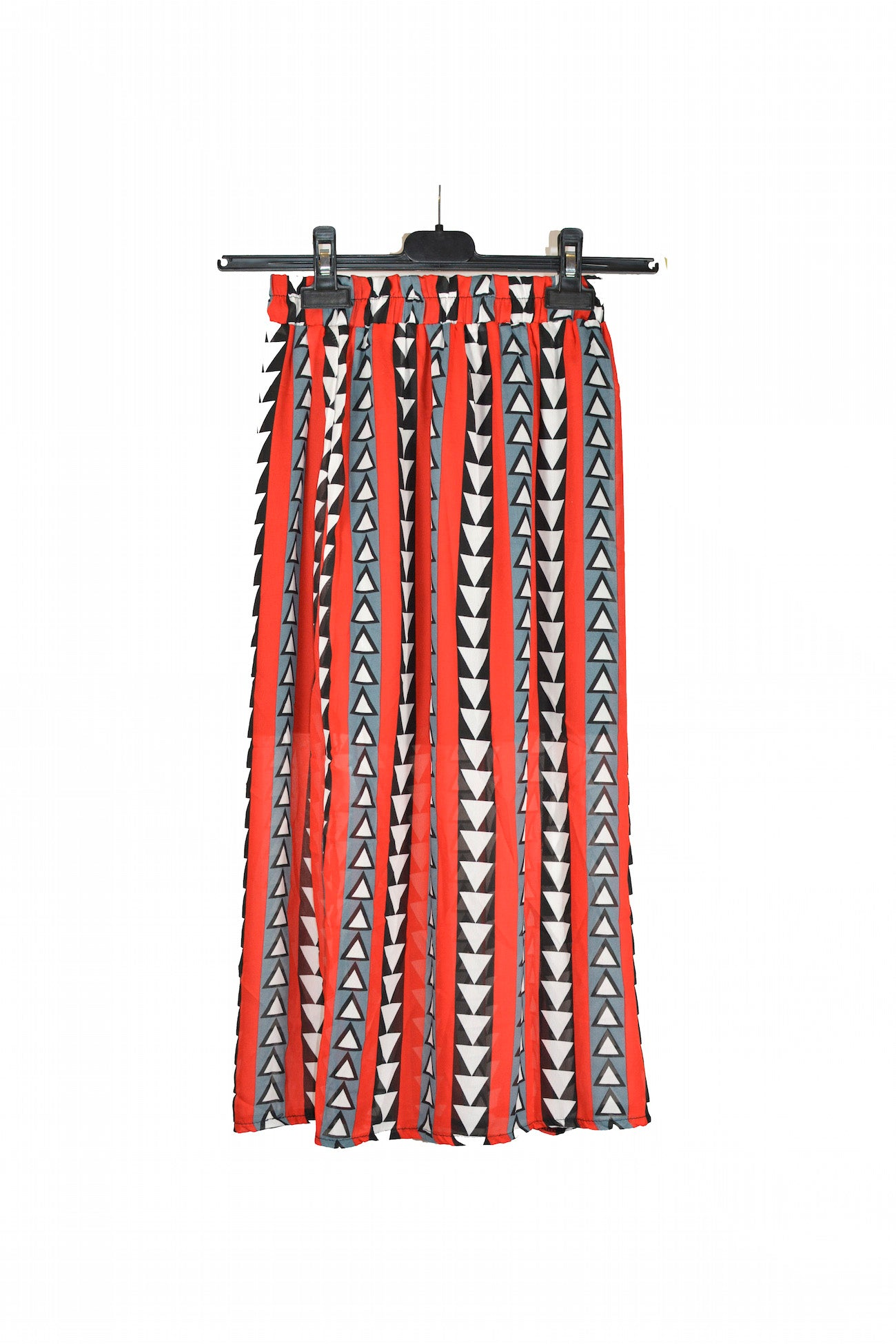 Red Aztec Printed Skirt With Elastic Waist