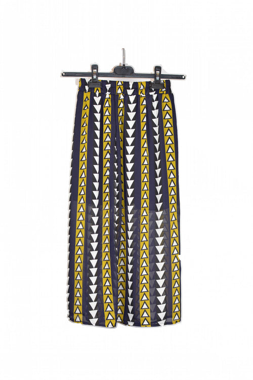 Navy Triangle Printed Midi Skirt With Elastic Waist!