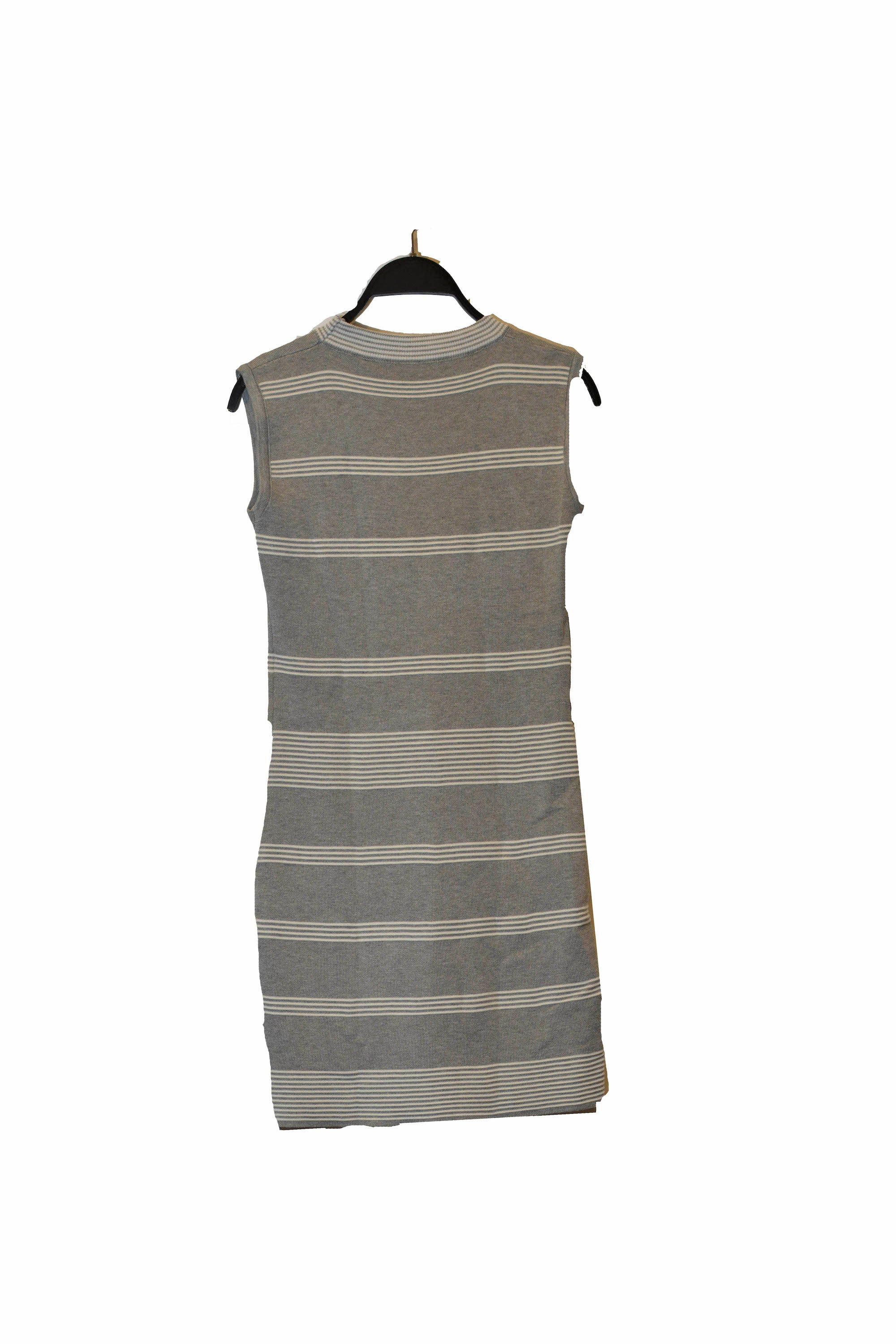 Grey Striped Bodycon Mini Dress With Round Neck