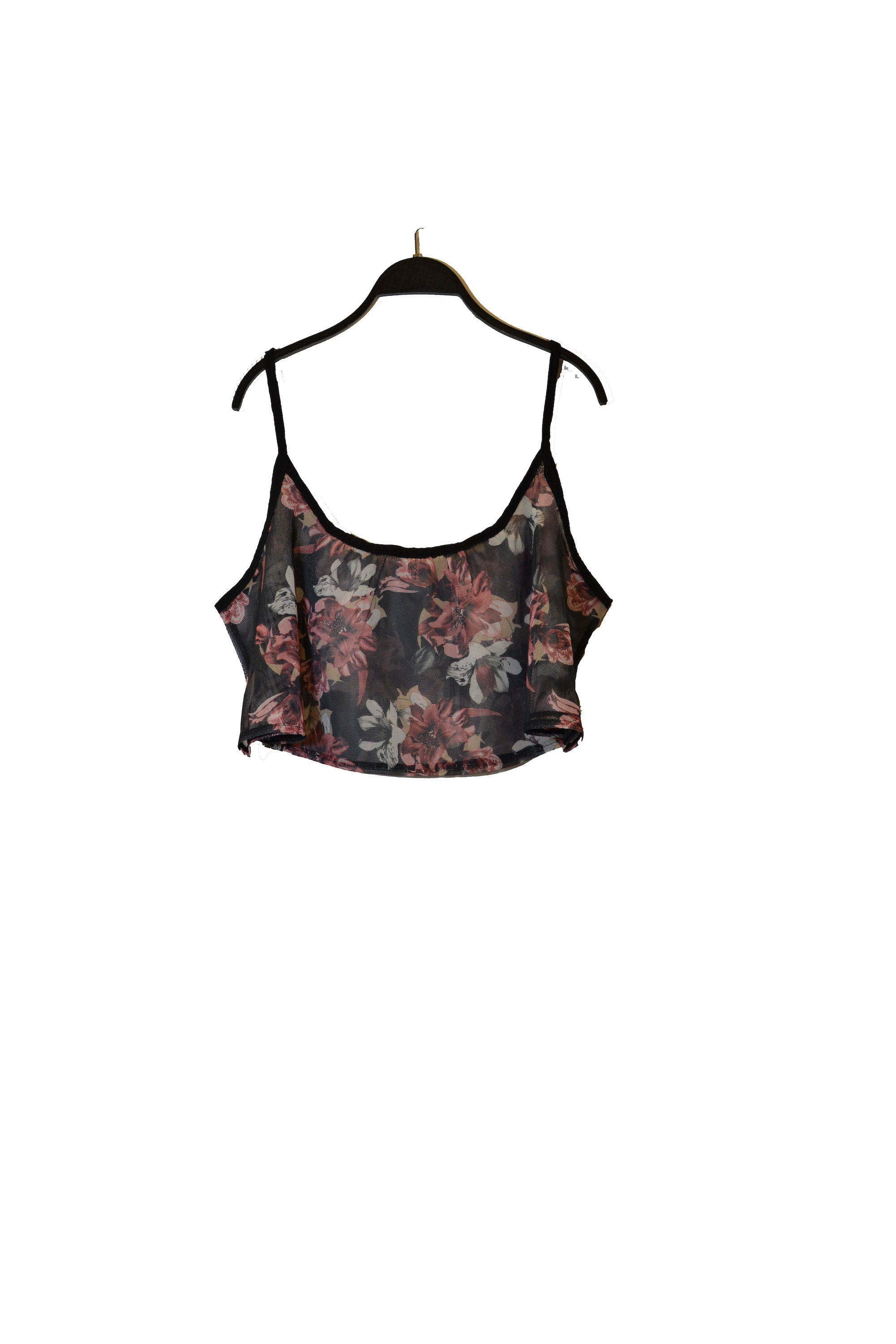 Black Floral Crop Top With Spaghetti Straps