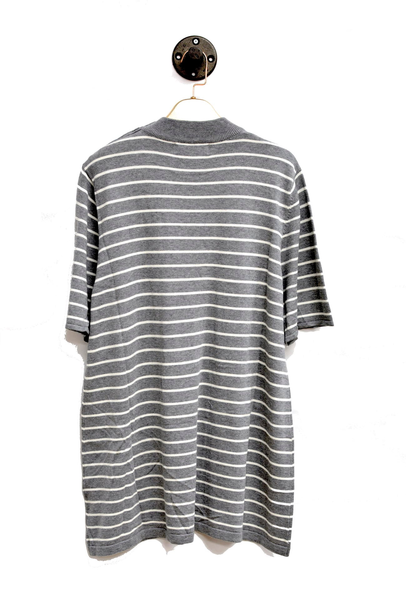 Grey Horizontal Striped Sweater Dress With Round Neck and buttoned shoulder