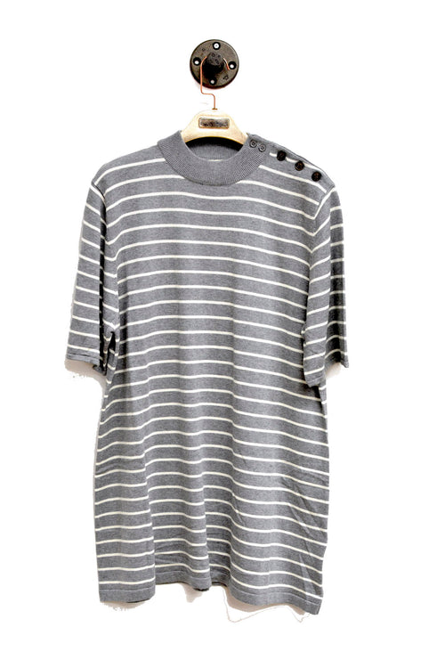 Grey Horizontal Striped Sweater Dress With Round Neck and buttoned shoulder!