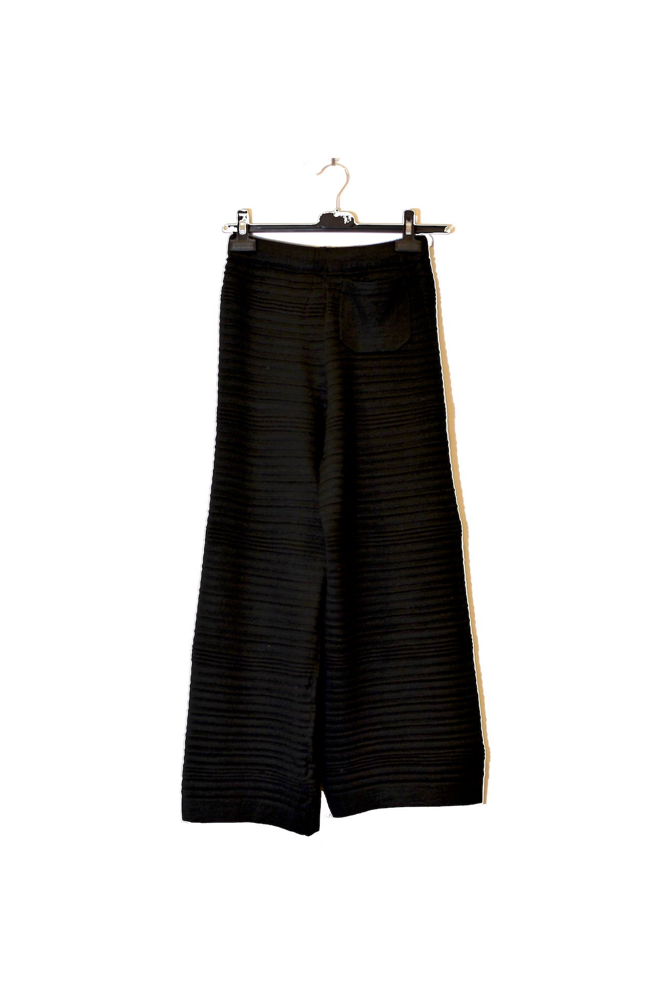 Black Wide Leg Striped Pants With Adjustable Waistband