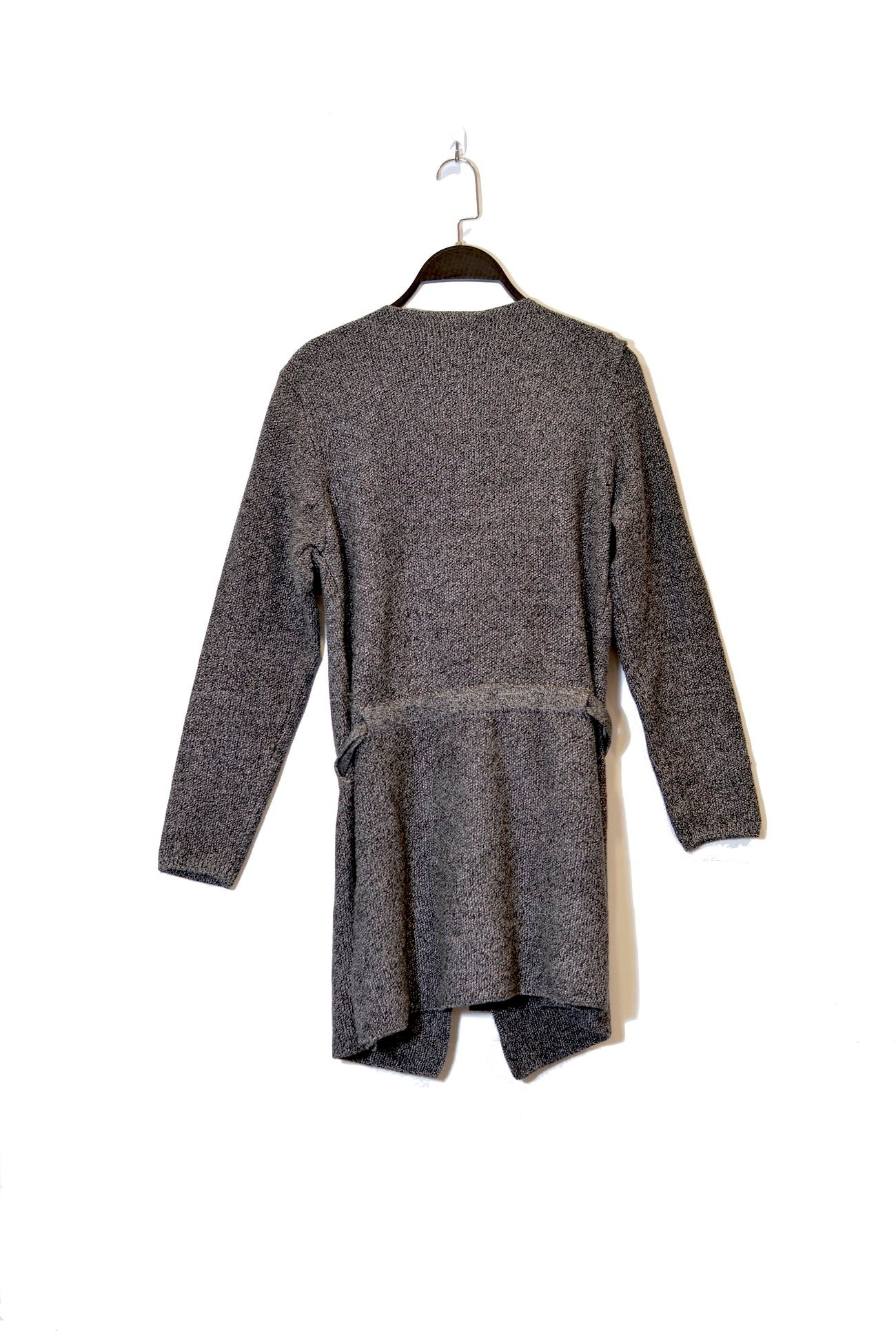 Grey Open Front Cardigan With Tie Belt And Black Collar