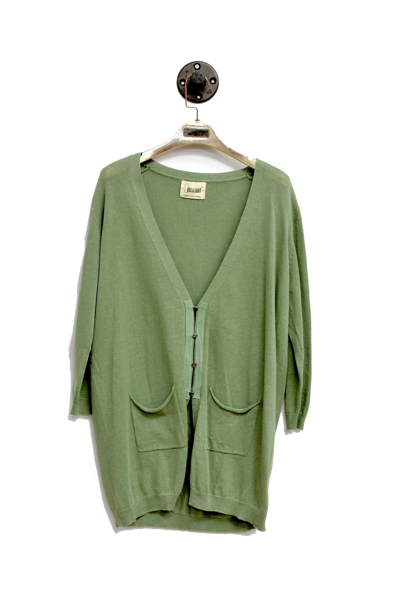 Green Long Button Down Cardigan With 2 Front Pocket