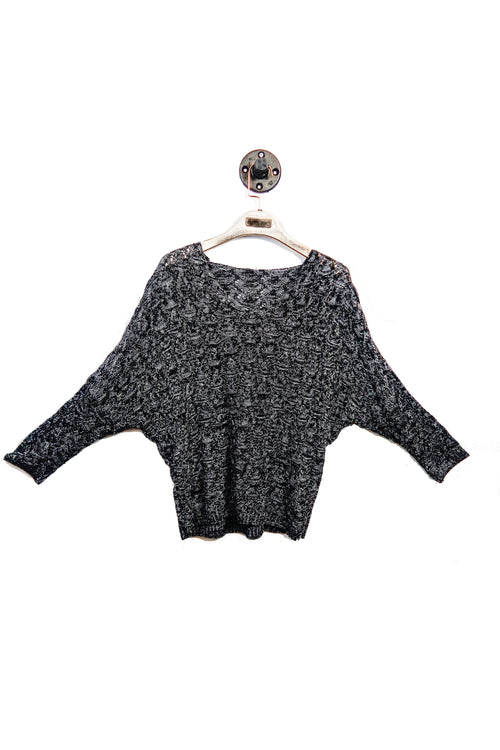 Black Knitted V-Neck Top!