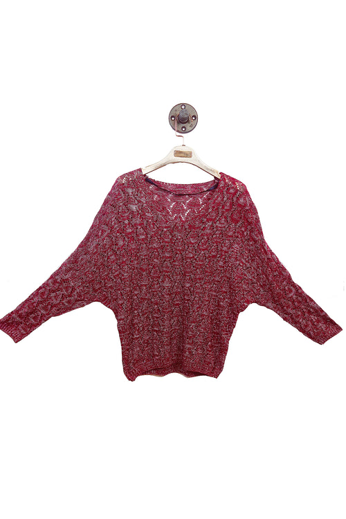 Red Knitted V-Neck Top!