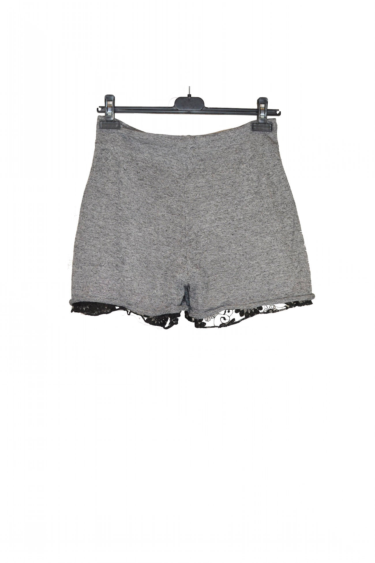Grey Drawstrings Shorts With Floral Design Lace