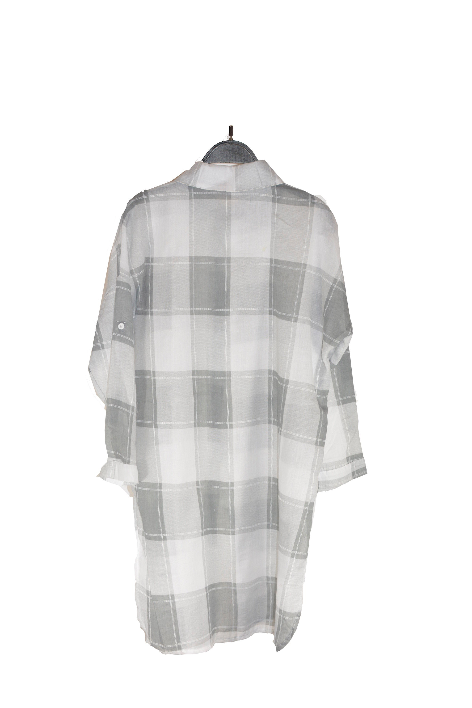 Grey Checkered buttoned-up Shirt With Adjustable Sleeves