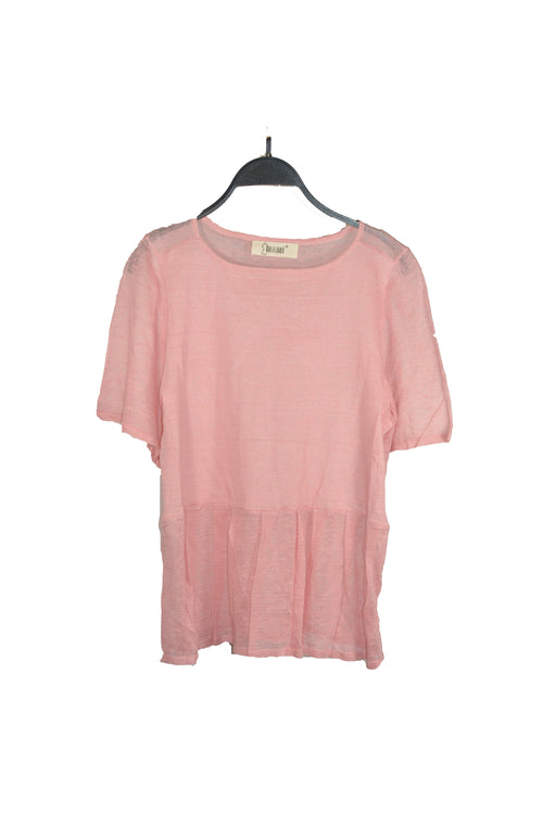Pink Pleated Bottom Top With Short Sleeves And Round Neckline that is lightweight!