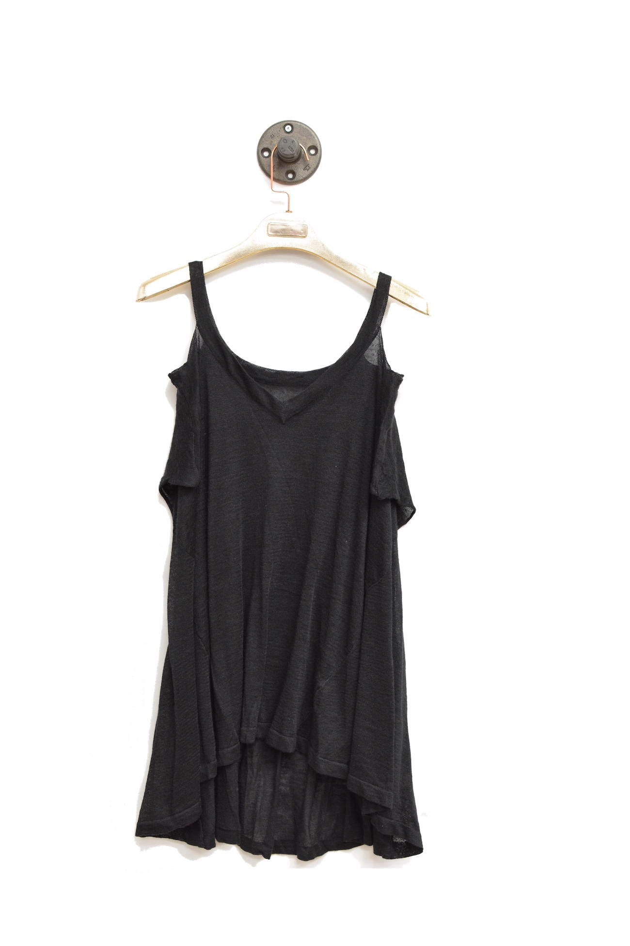 Black Shoulder Cut-Out Top That Is Semi Sheer With V-Neckline