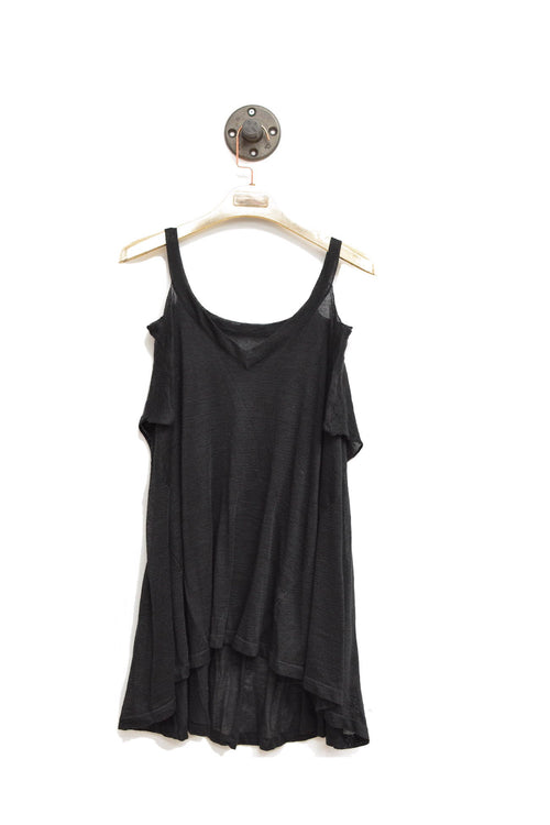 Black Shoulder Cut-Out Top That Is Semi Sheer With V-Neckline!
