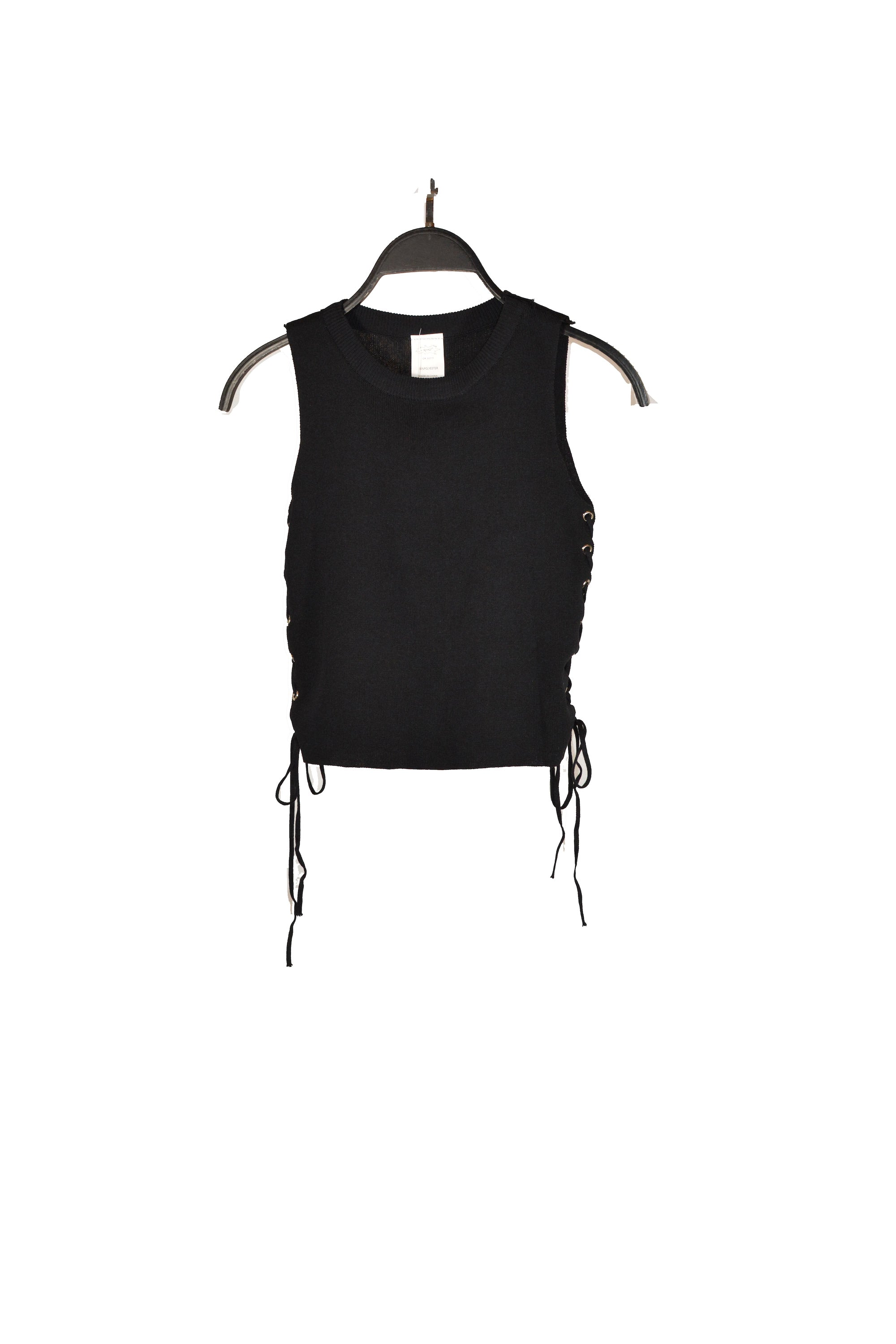 Black Sleeveless Side Lace-Up Tank Top With Round Neck and cropped length