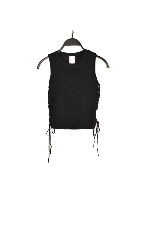 Black Side Lace-Up Tank Top!
