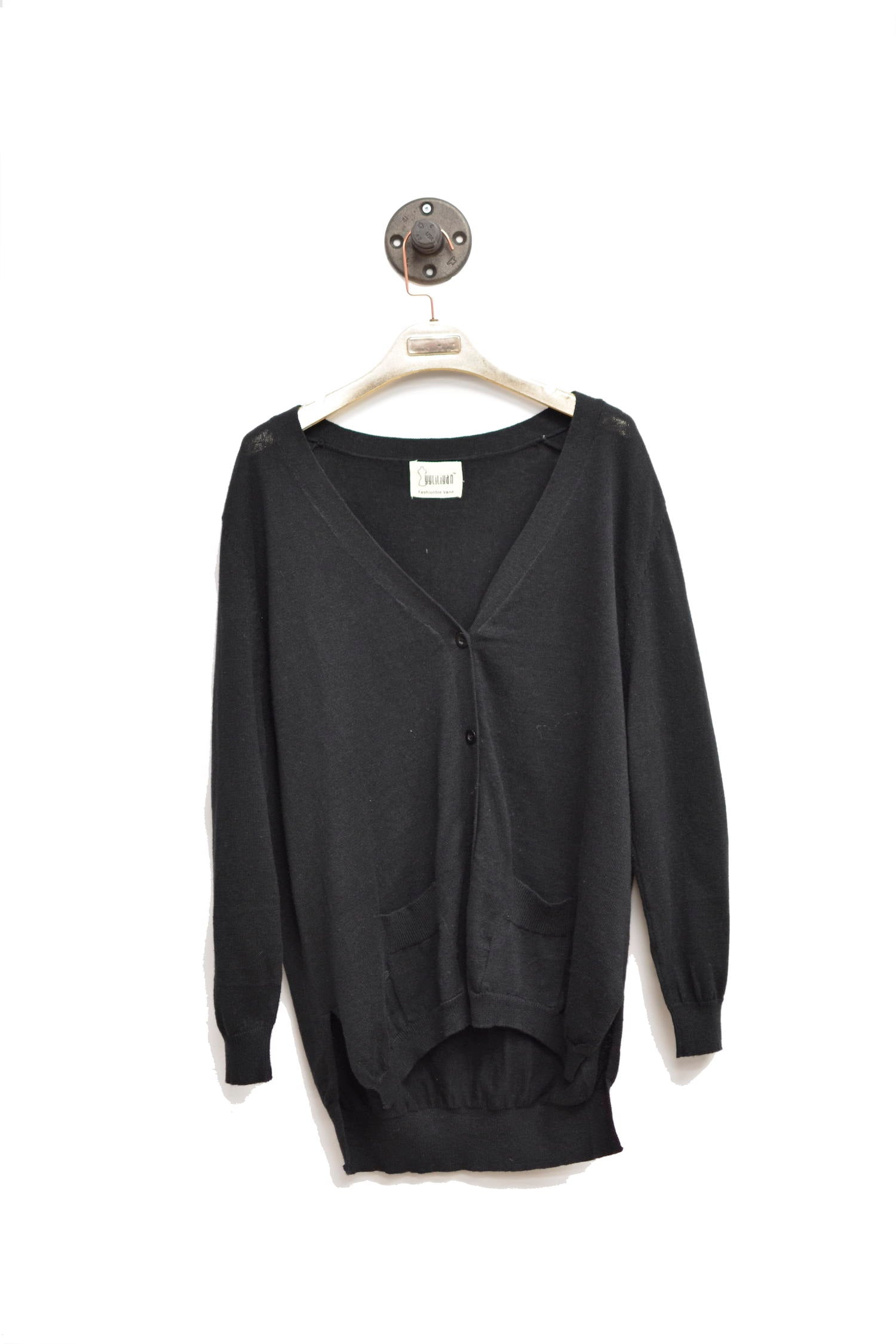 Black Button Down Long Cardigan With Front Pockets
