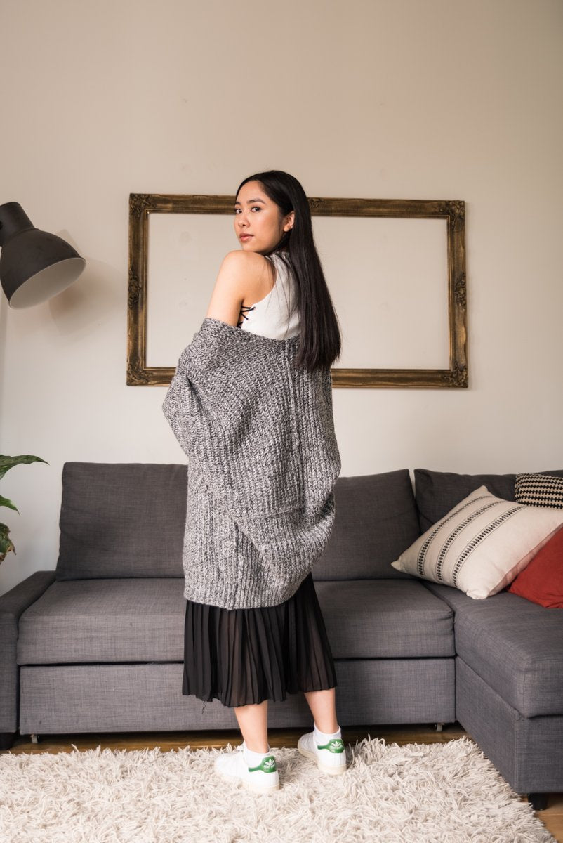 Grey Oversized Open Front  Cardigan With Dolman Sleeves