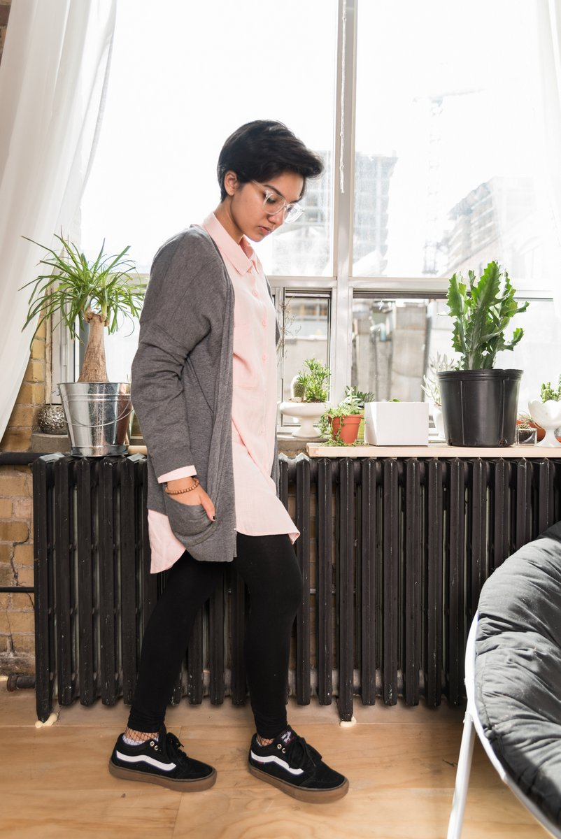 Grey Dolman Sleeve Cardigan With 2 Low Front Pockets