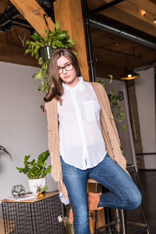 Brown Cardigan With 2 Front Pockets