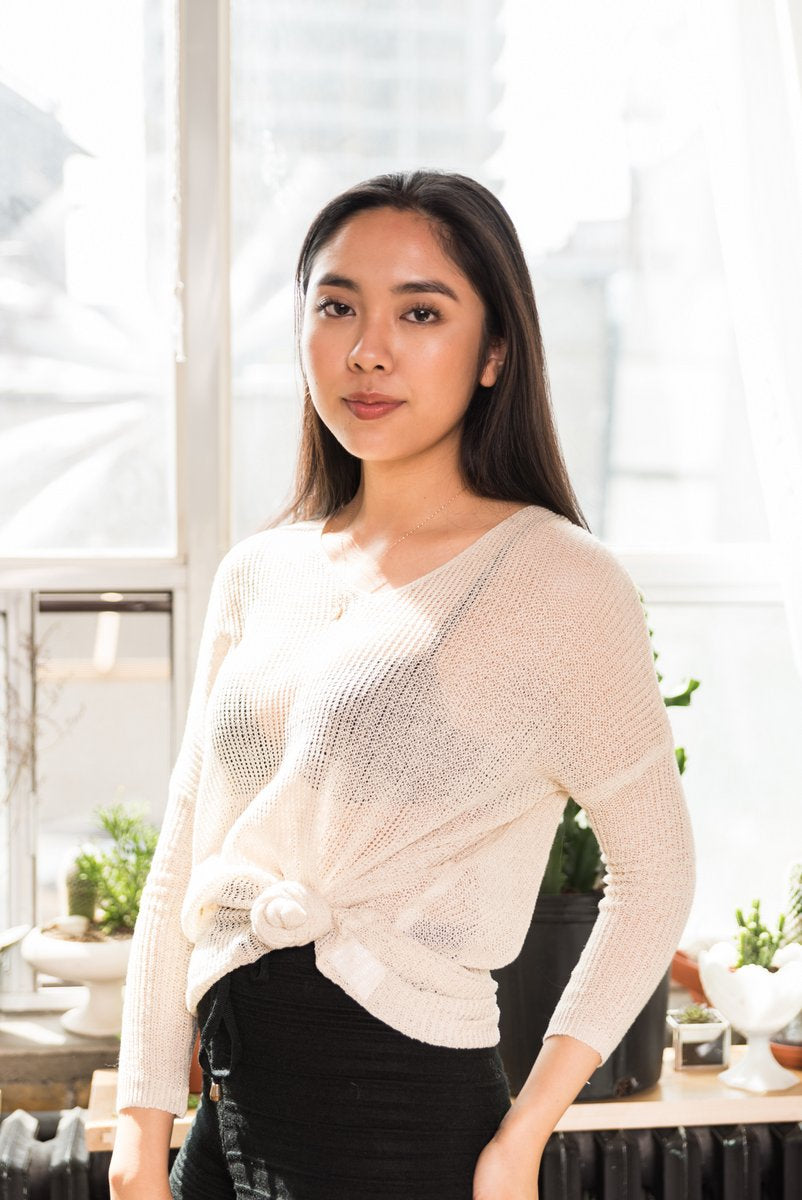 Beige V-neck Knit Top