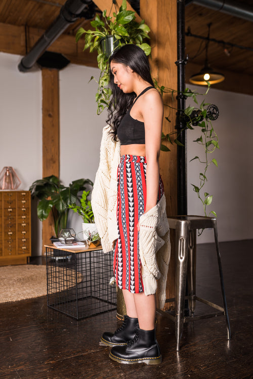 Red Aztec Printed Skirt With Elastic Waist!