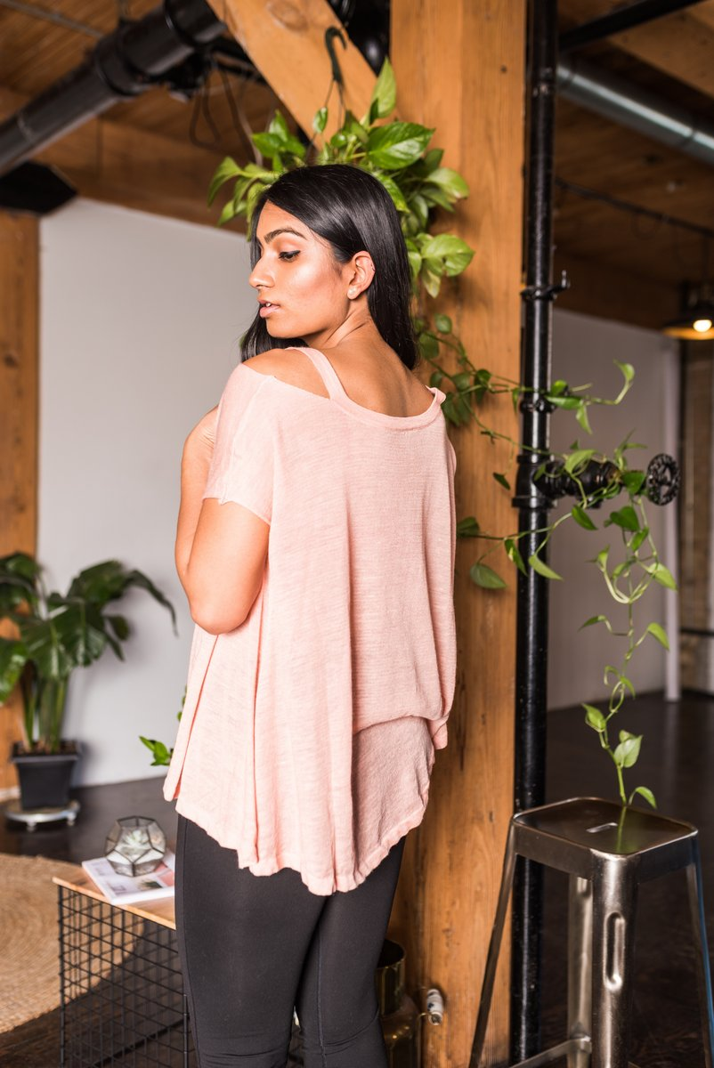 Peach Shoulder Cut-Out Top With V-Neckline