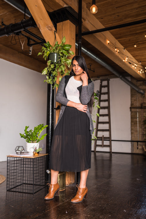 Black Maxi Pleated Skirt!
