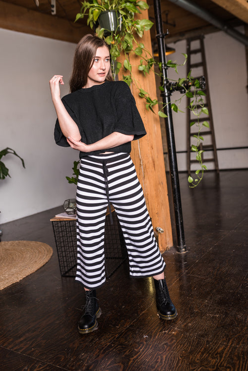 Black and White Striped Pants With Adjustable Waistband