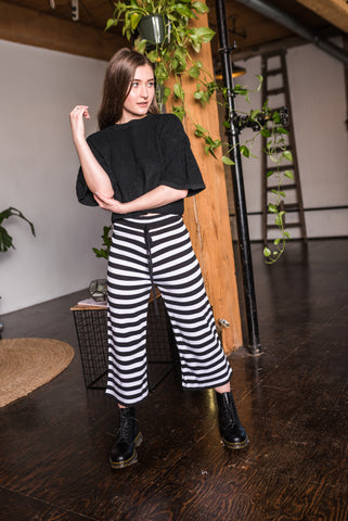 High Waisted Black/White Striped Harem Pants