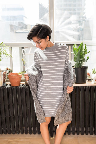 Grey Oversized Shirt Dress