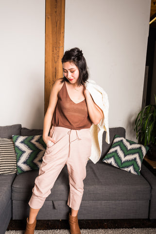 Pink Ankle Length Linen Pants