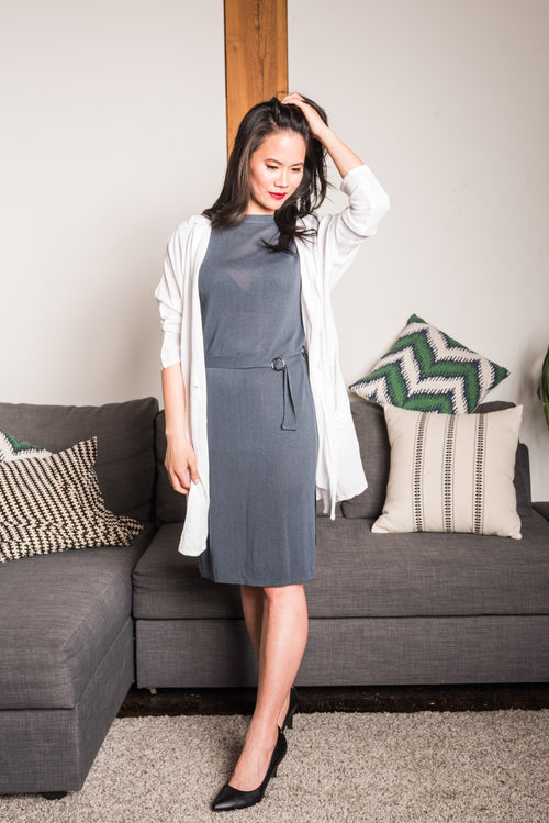 Sleeveless Grey Belted Bodycon Dress With Round Neck and Belt and Side Slits