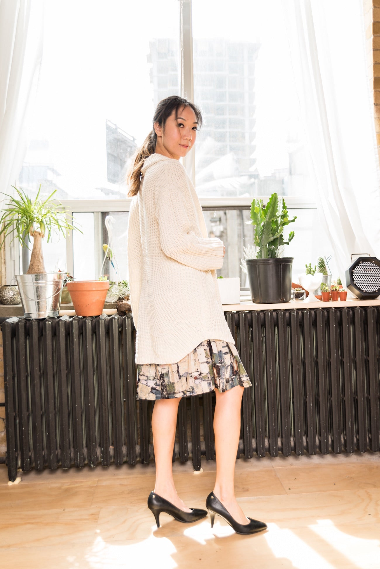 Mid-Length Cool-tone Abstract Printed Skirt