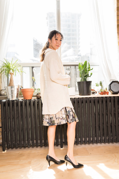 Mid-Length Abstract Printed Skirt With Elastic Waistband!