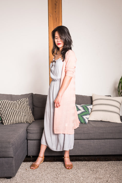 Light Grey Braided Maxi Dress With Spaghetti Straps and adjustable brown tie at neckline